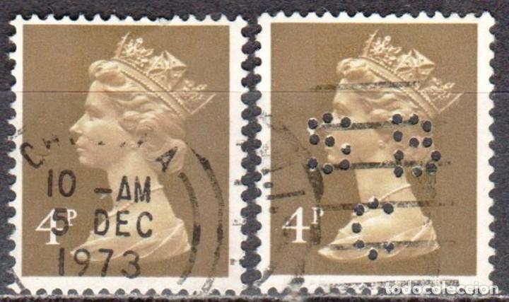 GRAN BRETAÑA - DOS SELLOS - IVERT #612 - ***REINA ELIZABETH II - DECIMAL*** - AÑO 1971 - USADOS (Sellos - Extranjero - Europa - Gran Bretaña)
