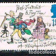Sellos: INGLATERRA IVERT Nº 1704, NAVIDAD 1993, 150 ANIVERSARIO DEL LIBRO CANTO DE NAVIDAD DE DICKENS, USADO. Lote 203598962