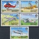 Sellos: ALDERNEY 1985 IVERT 18/22 *** 50º ANIVERSARIO DEL AEROPUERTO DE ALDERNEY - AVIONES. Lote 160996586