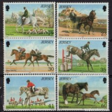 Sellos: JERSEY 1996 IVERT 748/5 *** 60º ANIVERSARIO DE LA JERSEY HORSE DRIVING SOCIETY - DEPORTES - CABALLOS. Lote 164487990
