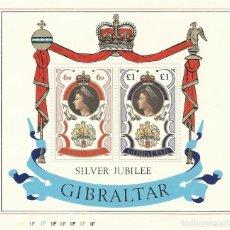 Sellos: GIBRALTAR. SILVER JUBILEE REINA ELIZABETH II DE INGLATERRA. BUEN ESTADO. DOS SELLOS EN HOJA. 1977.. Lote 164916486
