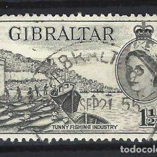 Sellos: GIBRALTAR 1953 - REINA ISABEL II - SELLO USADO. Lote 166680254