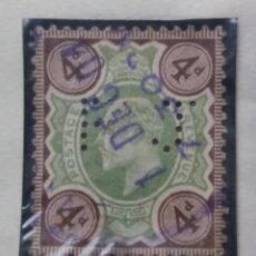 Sellos: GRAN BRETAÑA, 4 D, REY EDUARDO VII, PERFORADO , 1900.. Lote 166942004