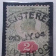 Sellos: GRAN BRETAÑA, 2 D, REY EDUARDO VII , 1902.. Lote 166942216