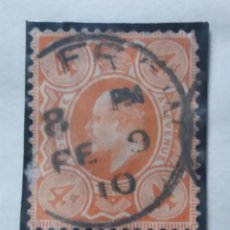 Sellos: GRAN BRETAÑA, 4 D,, REY EDUARDO VII, 1912.. Lote 166943208