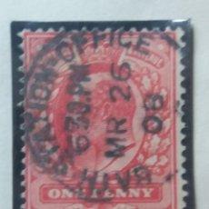 Sellos: GRAN BRETAÑA, ONE PENNY, REY EDUARDO VII, 1908,. Lote 166945656