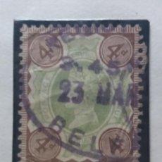 Sellos: GRAN BRETAÑA, COLONIAS, INDIA, REY EDUARDO VII, 4 D, 1900.. Lote 167051844