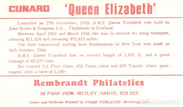 Sellos: LAS PALMAS. ÚLTIMA VISITA BUQUE QUEEN ELIZABETH. 1968. SOBRE CON TARJETA. - Foto 2 - 173564815