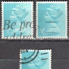 Sellos: REINO UNIDO - TRES SELLOS - IVERT#GB-605 - ***REINA ELIZABETH II - DECIMAL*** - AÑO 1971 - USADOS. Lote 175250220