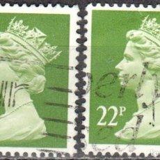 Sellos: REINO UNIDO - DOS SELLOS - IVERT#GB-1142 - ***REINA ELIZABETH II - DECIMAL*** - AÑO 1984 - USADOS. Lote 175299629
