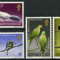 Sellos: JERSEY 1971 IVERT 43/46 *** FAUNA - CONSERVACIÓN DE LA NATURALEZA - AVES. Lote 178195431