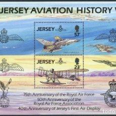 Sellos: JERSEY 1993 HB IVERT 7 *** HISTORIA DE LA AVIACIÓN - 75º ANIVERSARIO DE LA ROYAL AIR FORCE - AVIONES. Lote 180114385