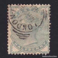 Sellos: GB.1880-1. Q.V. SG.165. 1/2D.PALE GREEN.LONDON.USED. COMBINED SHIPPING. Lote 180839897