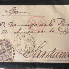 Sellos: SOBRE CON SELLO DE LONDON A SANTANDER. CONTIENE CARTA. 1863. Lote 183381595