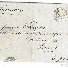 Sellos: CARTA COMPLETA CON SELLO 53 DE 1 CHELIN VERDE PLANCHA 11 CIRCULADA A ESPAÑA 1875. Lote 190436018