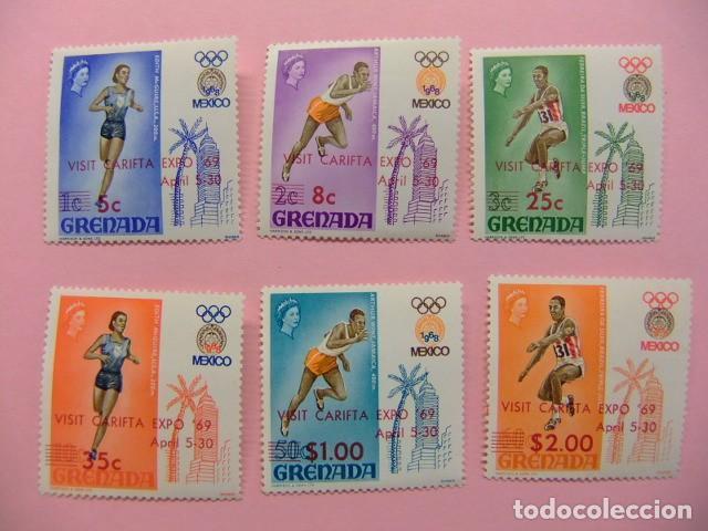 GRENADE GRENADA 1969 JEUX OLYMPIQUES DE MEXICO .SURCHARGÉS VISIT EXPO CARIFTA YVERT 281 A / 281 F * (Sellos - Extranjero - Europa - Gran Bretaña)
