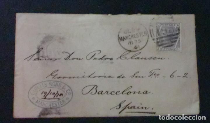 SOBRE CON MATASELLOS MANCHESTER Y TIMBRE AÑO 1875 (Sellos - Extranjero - Europa - Gran Bretaña)