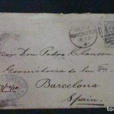 Sellos: SOBRE CON MATASELLOS MANCHESTER Y TIMBRE AÑO 1875. Lote 195273002