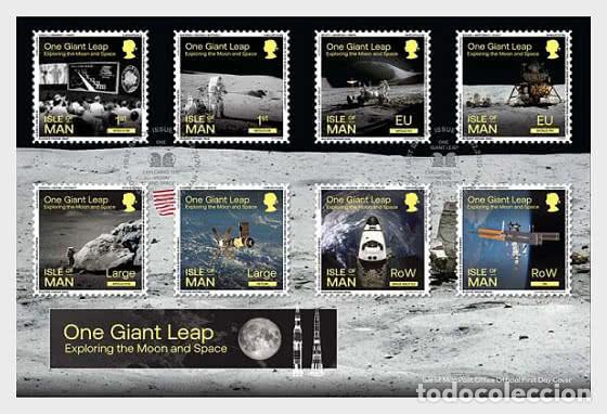 Sellos: Isle of Man 2020 - One Giant Leap - Exploring the Moon and Space FDC - Foto 1 - 195284691