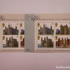 Sellos: INGLATERRA HOJITAS LONDON 1980 CASTILLOS PAREJA. Lote 195748796