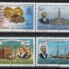 Francobolli: ISLA DE MAN 1975 - PIONERES MANESES EN ESTADOS UNIDOS, S.COMPLETA - SELLOS NUEVOS **. Lote 197951553