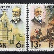 Francobolli: ISLA DE MAN 1978 - PIONEROS MANESES EN CANADÁ, S.COMPLETA - SELLOS NUEVOS **. Lote 197954167