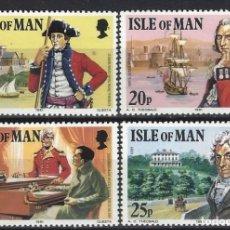 Sellos: ISLA DE MAN 1981 - 150º ANIV. MUERTE CORONEL MARK WILKS, S.COMPLETA - SELLOS NUEVOS **. Lote 197956971