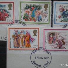 Sellos: INGLATERRA - IVERT 1062/66 - USADOS - NAVIDAD 1982 - LOS DE LA FOTO. Lote 200044945