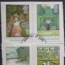 Sellos: INGLATERRA - IVERT 1100/03 - USADOS - JARDINES BRITANICOS - LOS DE LA FOTO. Lote 200046748