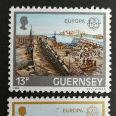 Sellos: GUERNSEY, EUROPA CEPT 1983 MNH (FOTOGRAFÍA REAL). Lote 218351606