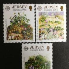 Sellos: JERSEY, N°372/74 MNH, PROTECCIÓN A LA NATURALEZA Y EL MEDIO AMBIENTE 1986 (FOTOGRAFÍA REAL). Lote 200063645
