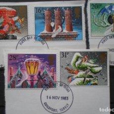 Sellos: INGLATERRA - IVERT 1108/12 - USADOS - NAVIDA 1983 - LOS DE LA FOTO. Lote 200089815