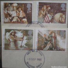 Sellos: INGLATERRA - IVERT 1190/93 - LEYENDA DEL REY ARTURO Y CABALLEROS TABLA REDONDA - LOS DE LA FOTO. Lote 200092795