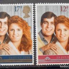 Sellos: INGLATERRA - IVERT 1236/37 - USADOS - BODA DEL PRINCIPE ANDRES CON SARAH FERGUSON - LOS DE LA FOTO. Lote 201568681