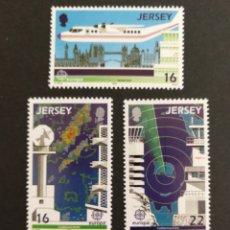 Sellos: JERSEY, EUROPA CEPT 1988 MNH, TRANSPORTES Y COMUNICACIONES (FOTOGRAFÍA REAL). Lote 204054675