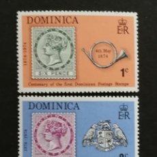 Sellos: DOMINICA, CENTENARIO DEL PRIMER SELLO DOMINICANO 1974 MNH (FOTOGRAFÍA REAL). Lote 205851837