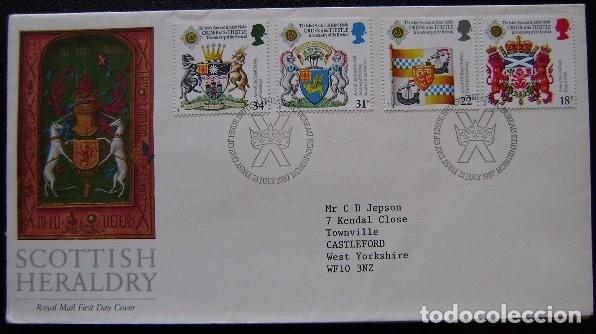 INGLATERRA - IVERT 1274/77 - SOBRES 1º DIA - HERALDICA - ESCUDOS ESCOCESES (Sellos - Extranjero - Europa - Gran Bretaña)