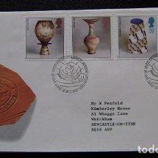 Sellos: INGLATERRA - IVERT 1284/87 - SOBRES 1º DIA - EL ARTE DE LA CERAMICA. Lote 206952603
