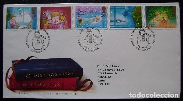 INGLATERRA - IVERT 1288/92 - SOBRES 1º DIA - NAVIDAD 1987 - LA INFANCIA Y LA MAGIA DE LA NAVIDAD (Sellos - Extranjero - Europa - Gran Bretaña)