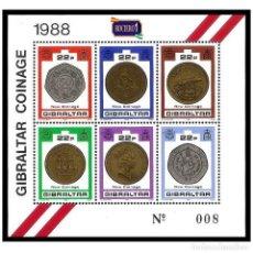 Sellos: GIBRALTAR 1989. YT BF13, MI BL14. NEW COINAGE. NUEVAS MONEDAS. NUEVO** MNH. Lote 206993278