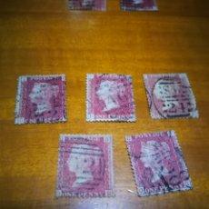 Sellos: LOTE DE 5 PENNY RED INGLATERRA SIGLO XIX AUTÉNTICOS DISTINTAS PLACAS Y POSICIONES. Lote 208218002