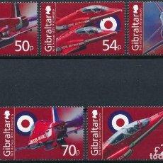 Sellos: GIBRALTAR 2014 MICHEL 1615/19 *** 50º ANIVERSARIO DE LA RED ARROWS - AVIONES. Lote 208666085