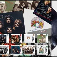 Sellos: GRAN BRETAÑA 2020 GIGANTES DE LA MÚSICA: QUEEN ALBUM COVER FAN SHEET. Lote 210416788