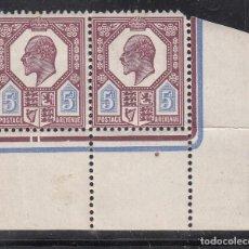 Sellos: GRAN BRETAÑA, 1902-10 YVERT Nº 113 /*/, REY EDUARDO VII, PAREJA ESQUINA DE PLIEGO. Lote 212124128