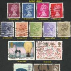 Sellos: REINO UNIDO 1965 A 1991 - LOTE VARIADO (VER IMAGEN) - 13 SELLOS USADOS. Lote 218246746