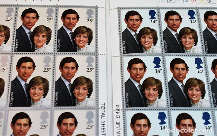 Sellos: 100 series en dos hojas de 100 sellos cada una, Boda Real,Carlos y Lady Di,nuevos, MNH** - Foto 2 - 219981053