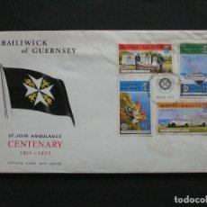 Sellos: GUERNSEY - SOBRE CONMEMORATIVO DEL CENTENARIO DE LA ASOCIACION ST. JHON AMBULANCE. Lote 222150378