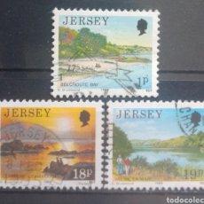 Timbres: JERSEY PANORÁMICAS DE LA ISLA SERIE DE SELLOS USADOS. Lote 264154892