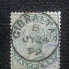 Sellos: GRAN BRETAÑA GIBRALTAR, HALF PENNY, AÑO 1887.. Lote 222595898
