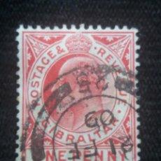 Sellos: GRAN BRETAÑA GIBRALTAR, ONE PENNY, AÑO 1910.. Lote 222596197